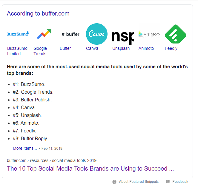 b2b content marketing done by buffer and the first place ranking on Google