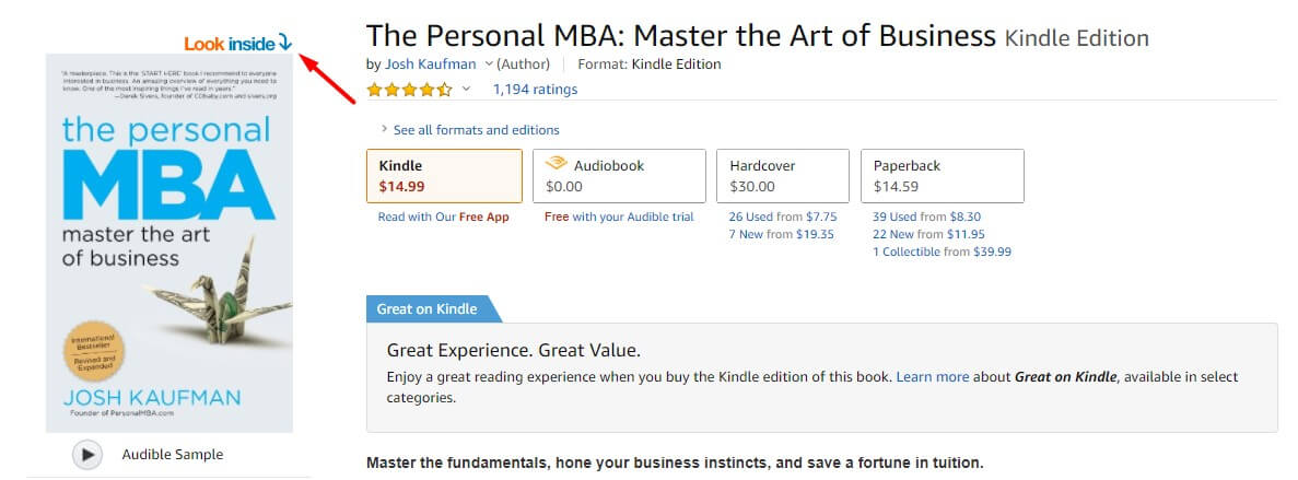 Find the most rated book for your keyword on amazon kindle store and click on look inside. Article about content marketing mistakes