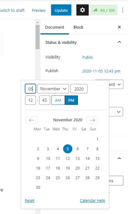 Changing the published date within the Gutenberg block editor setting in WordPress. Historical optimization changing published date to your current date.