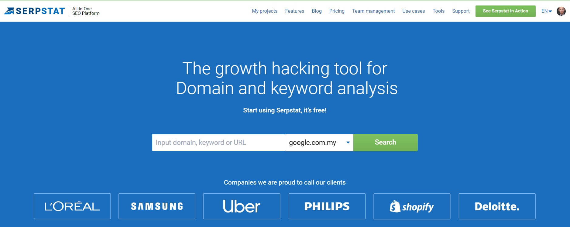 Serpstat is an All-in-one SEO platform which provides more than 20 tools: Competitor Analysis, Keyword Research, Backlink Analysis, Site Audit and Rank Tracker and many more. Serpstat is the fastest-growing SEO tool on the market that provides comprehensive search analytics data to more than 300,000 users. Top B2B SEO Tools today