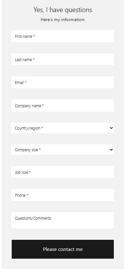 Microsoft Lead form example
