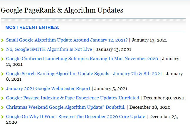 SEJ Google PageRank & Algorithm Updates. It is important to see the latest algorithm updates Google does in order to predict what is next.