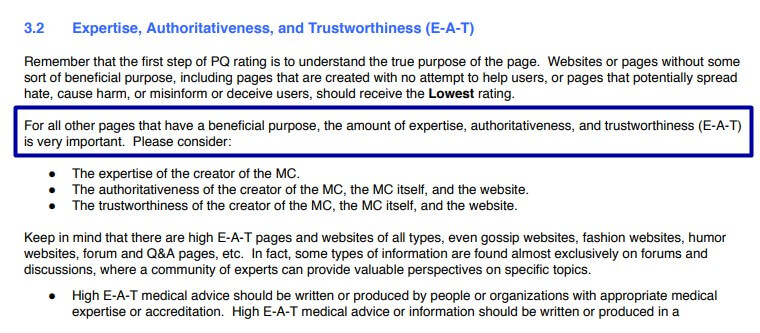 Google Search Quality Rater Guidelines E-A-T helps better understand how to structure your b2b SEO strategies.