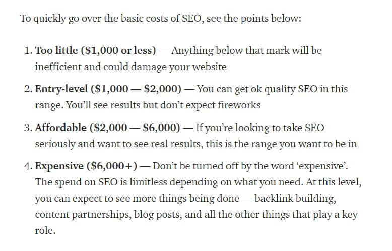 The biggest cost of B2B SEO is hiring an SEO agency to effectively implement an SEO strategy. The price list of SEO services and explanation of how much you should pay for SEO service to get good results.