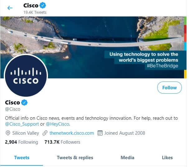 Cisco twitter example of twitter social media for b2b companies