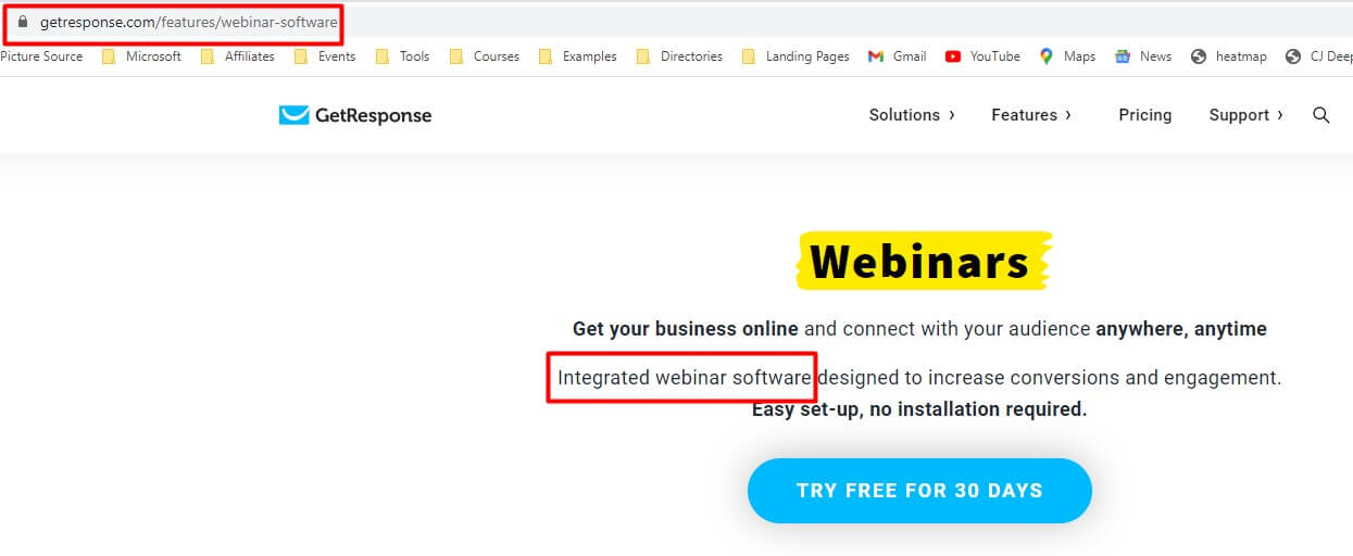 Feature pages for B2B SEO for b2b buyers to find you. GetResponse Example of integrated webinar software feature page.
