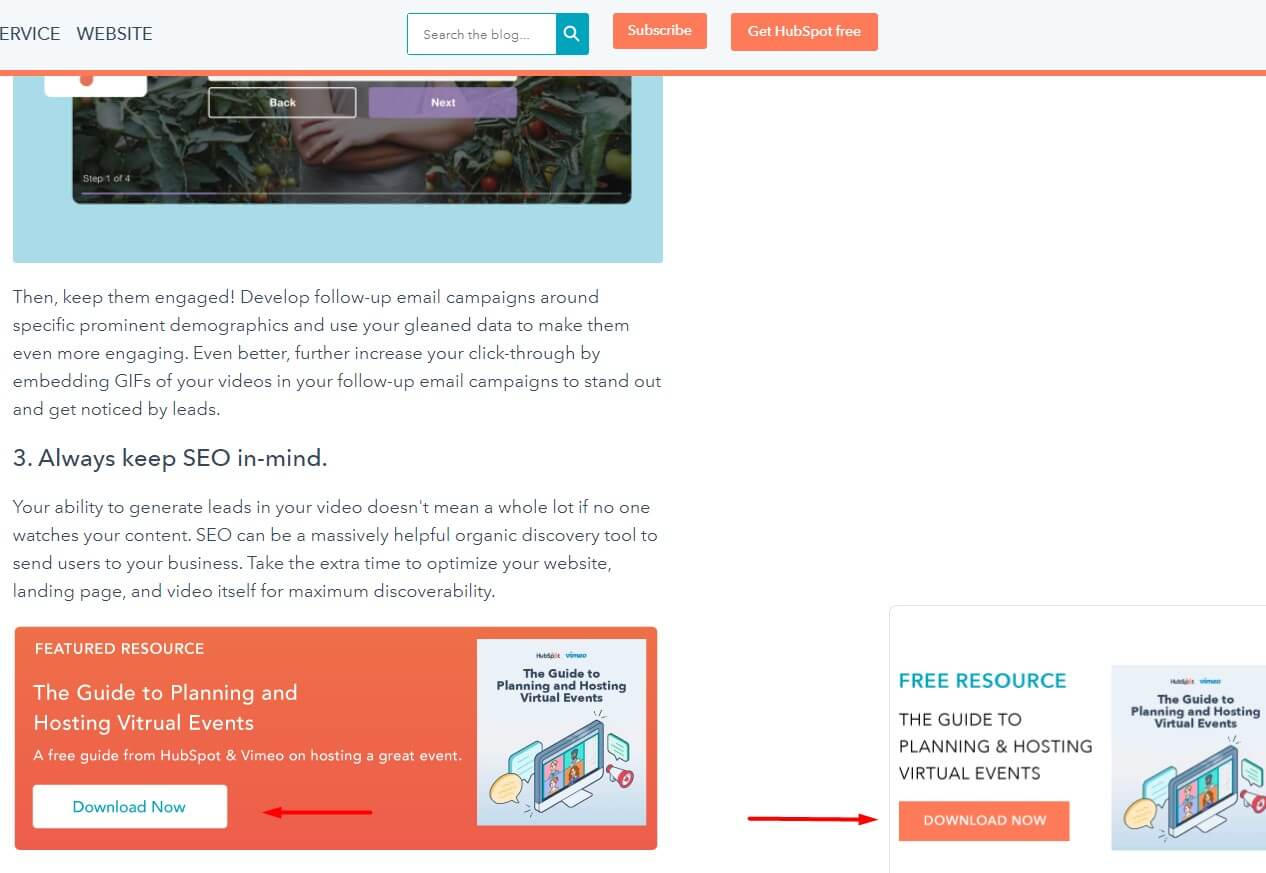 B2B SEO landing page creation and CTA to match the intent of b2b buyers. Example of HubSpot CTA to download ebooks on blog posts.