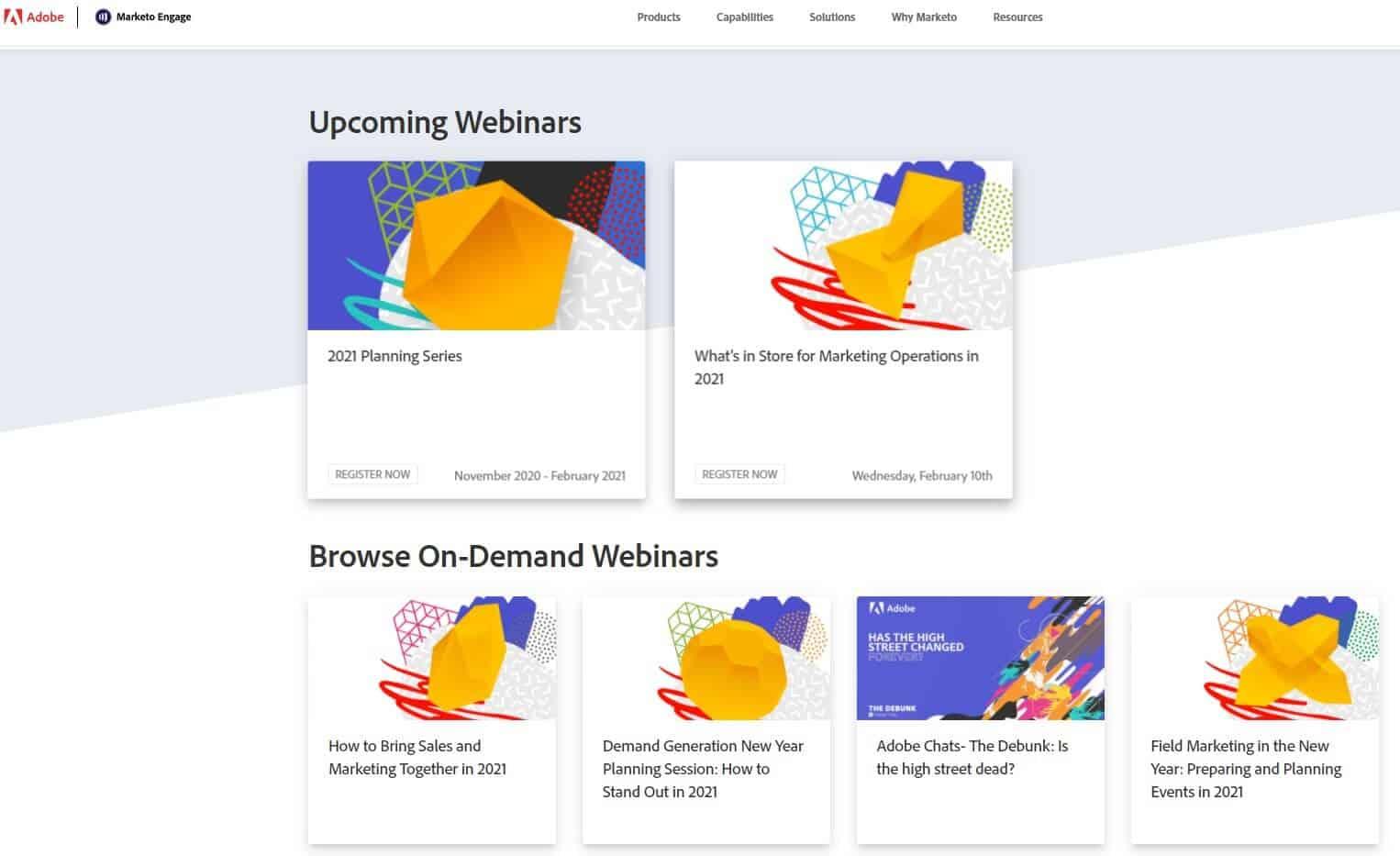 marketo webinars upcoming and on-demand