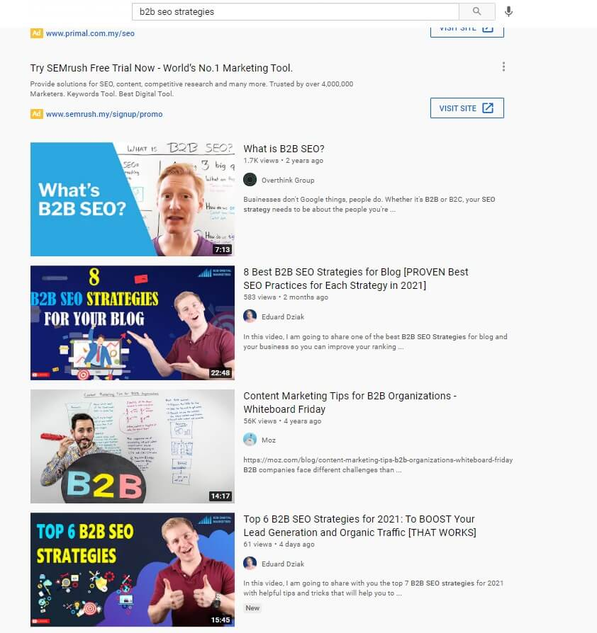 YouTube works the same way as other search engines for people to find information. Video creation is perfect for B2B SEO.