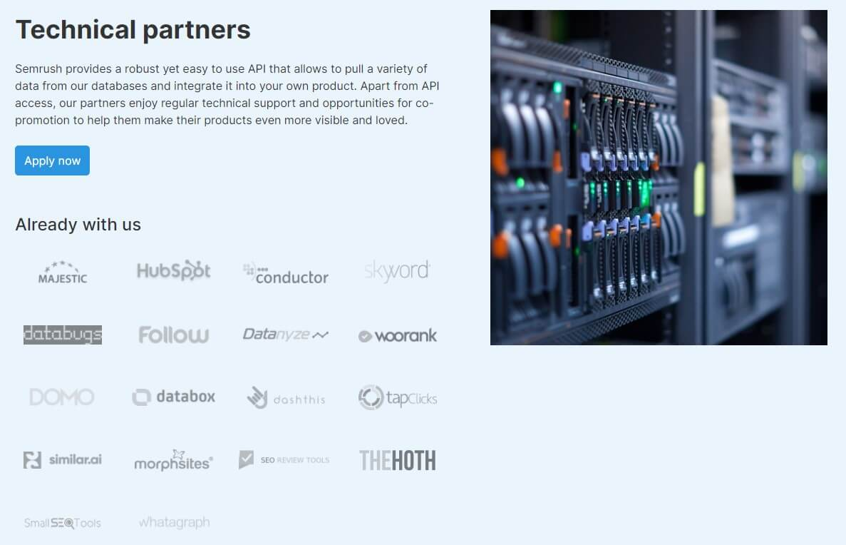 Create a partner section for B2B SEO to get easy and quick backlinks for your website. Example of partners website.