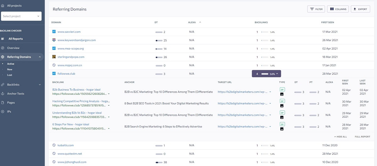 additional information for referring domains in se ranking backlink checker dashboard