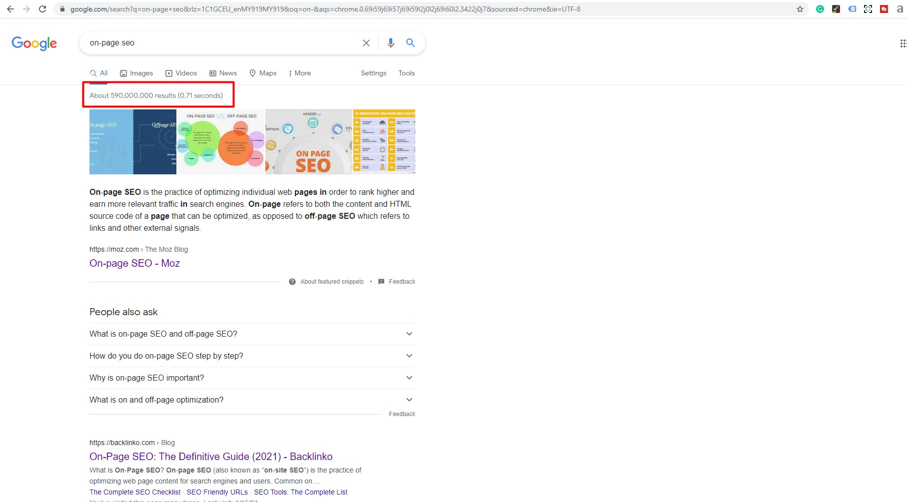 competition on google is fierce example of number of results in Google for on-page seo keyword