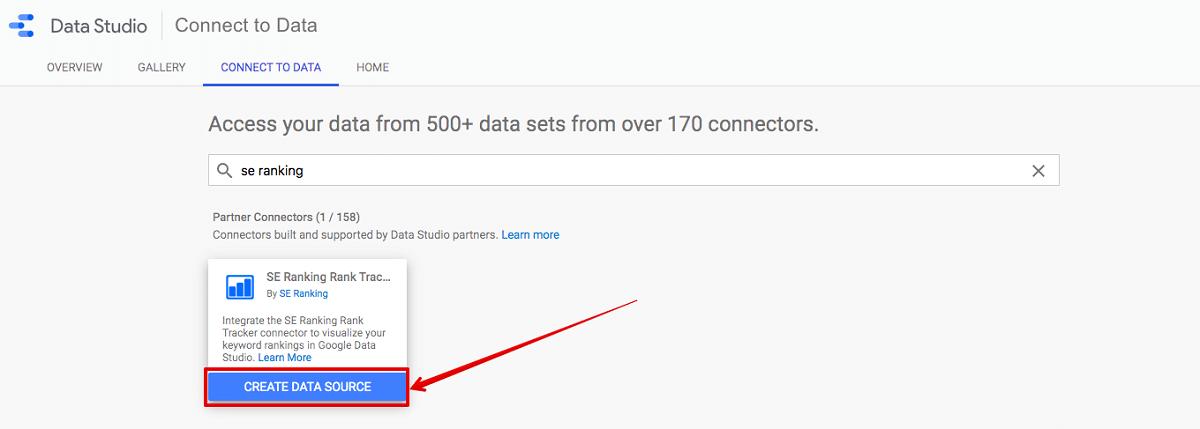 google data studio and se ranking connection