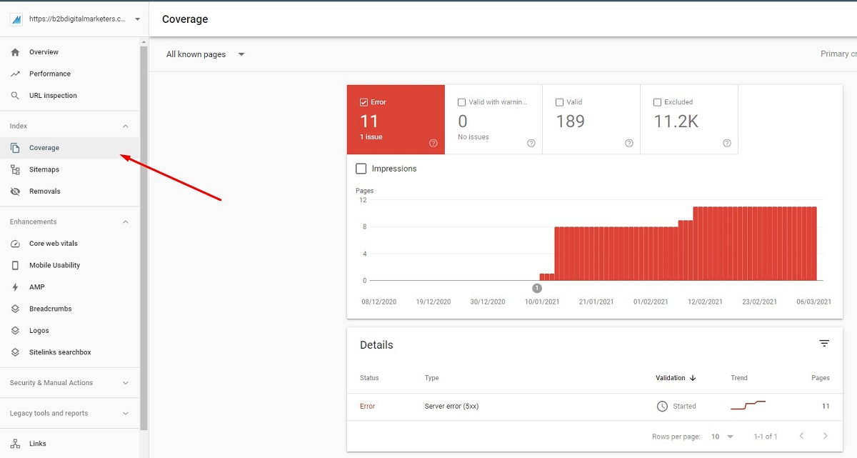 google search console coverage seo errors on your website and b2b seo audit