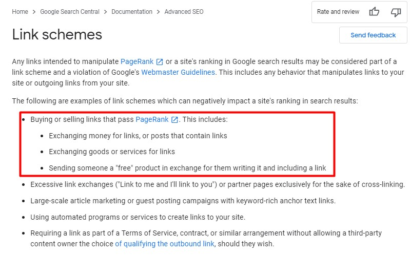 google seo guideliness link schemes and buying links