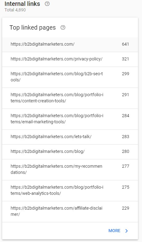 internal links in the google search console dashboard