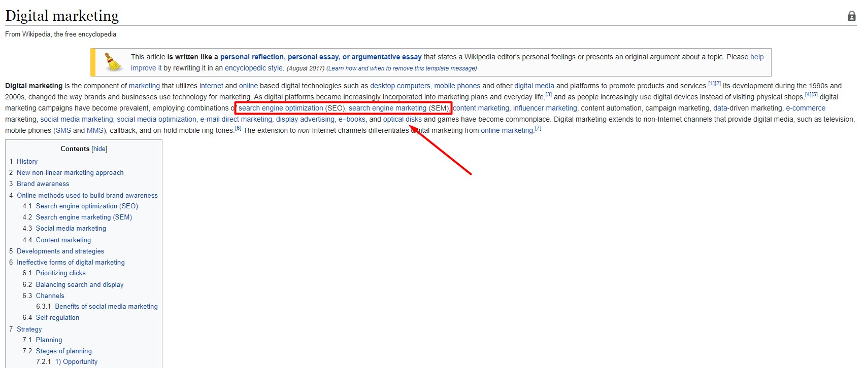wikipeadia page and internal links