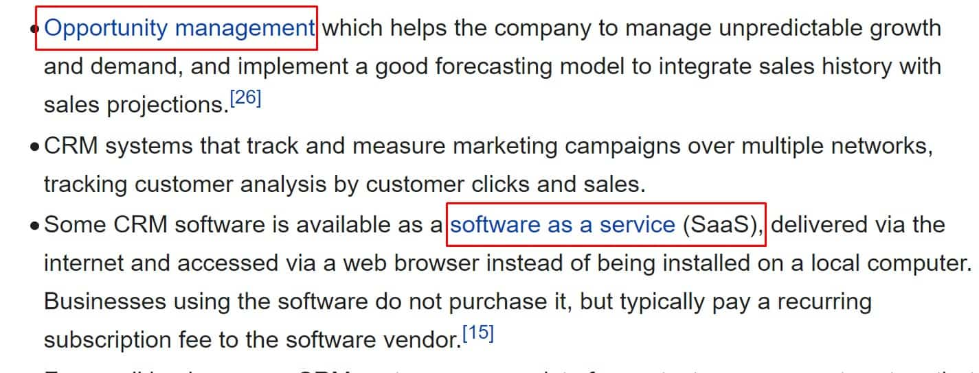 and more seed keywords on wikipedia for CRM