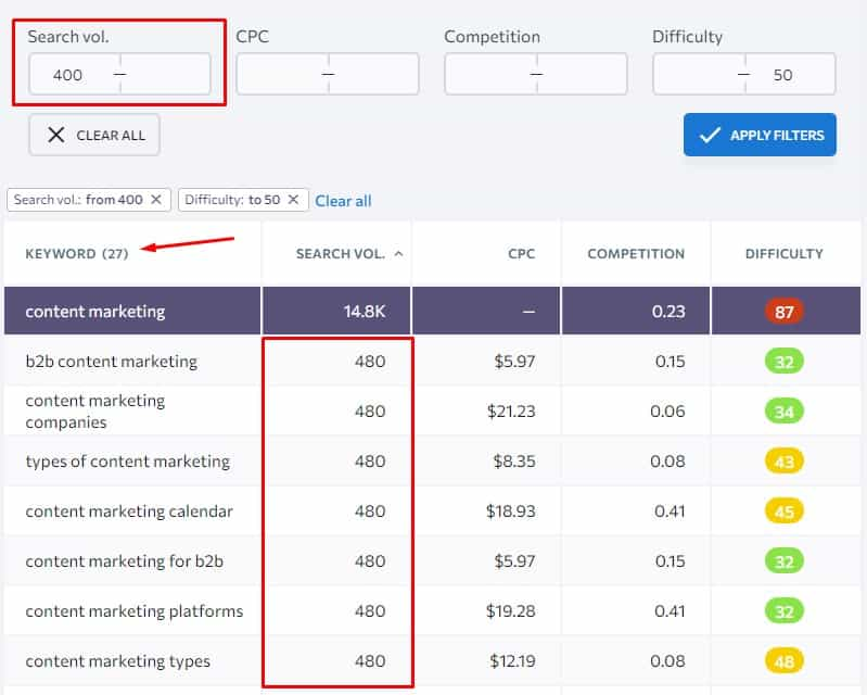 keyword ideas with search volume filter