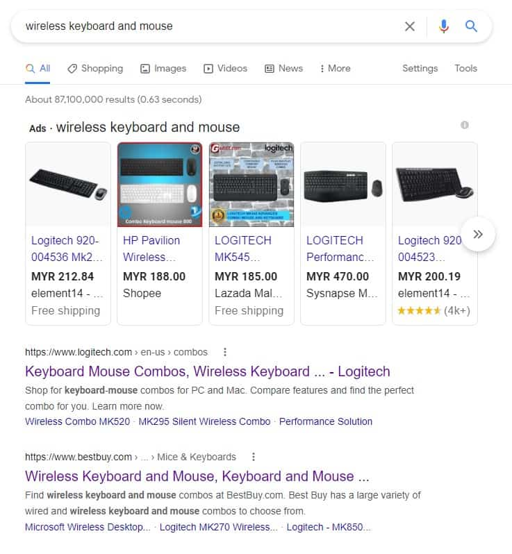 keyword search intent for product pages