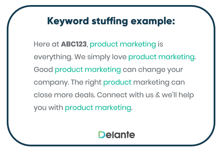 keyword stuffing example before latent semantic analysis on search engines