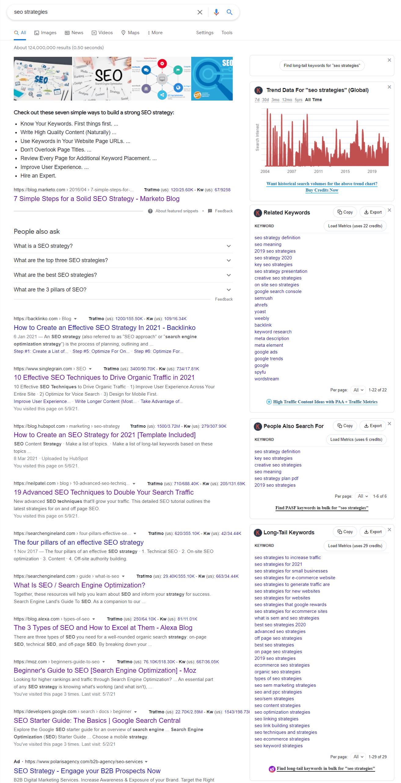 keywords everywhere google chrome extension to find lsi keywords