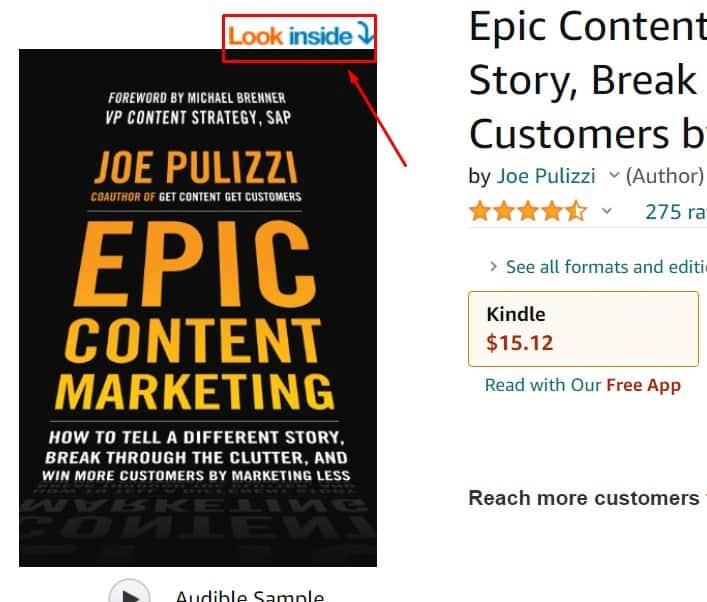 look inside in amazon to find keywords