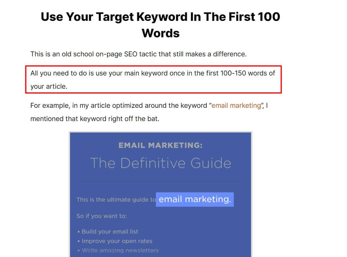 search for lsi keywords in the first 150 words of the content