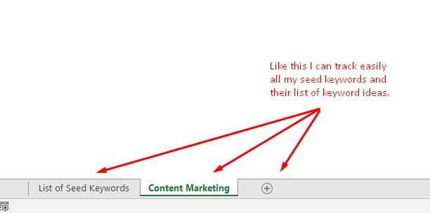 tracking your seed keywords and their list of keyword ideas
