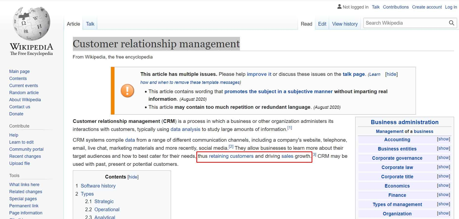 wikipedia page to find seed keywords example in CRM industry