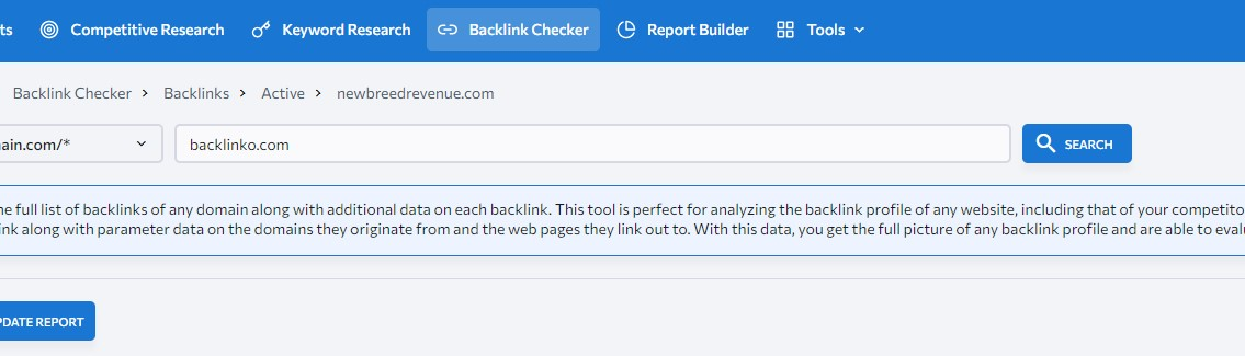 checking all competitor backlinks
