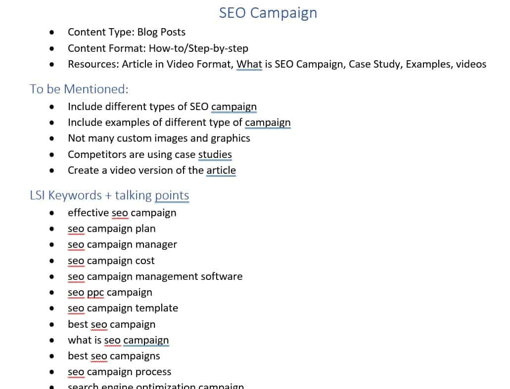 documenting lsi keywords and talking points for content creation