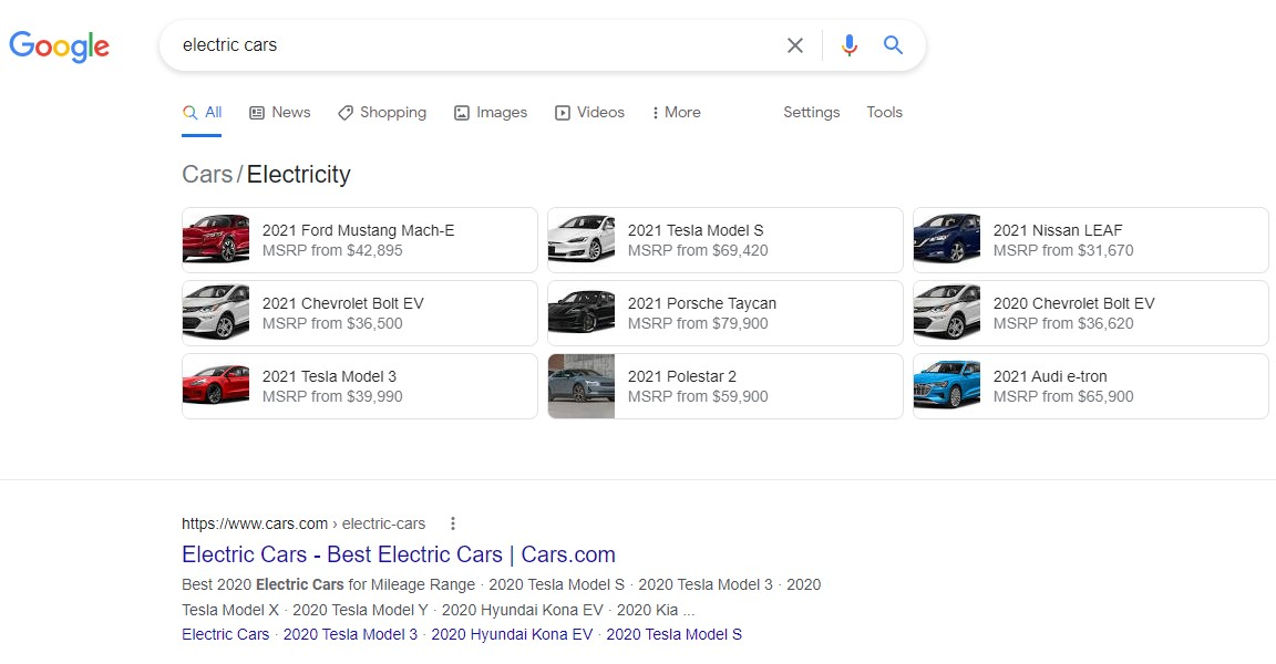 google content box shows the search intent and this is commercial search intent keyword