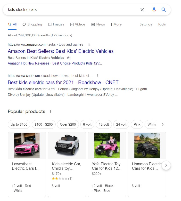 google content box shows transactional search intent for the keyword