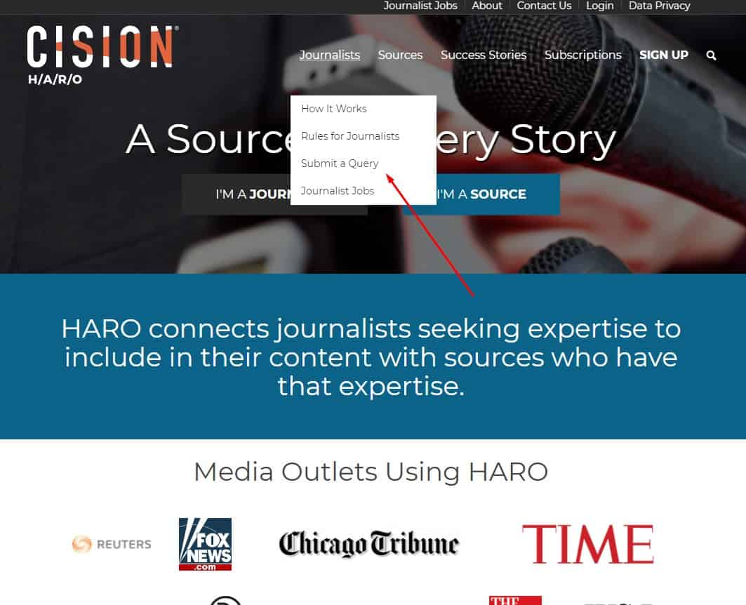 haro submit query to create seo content
