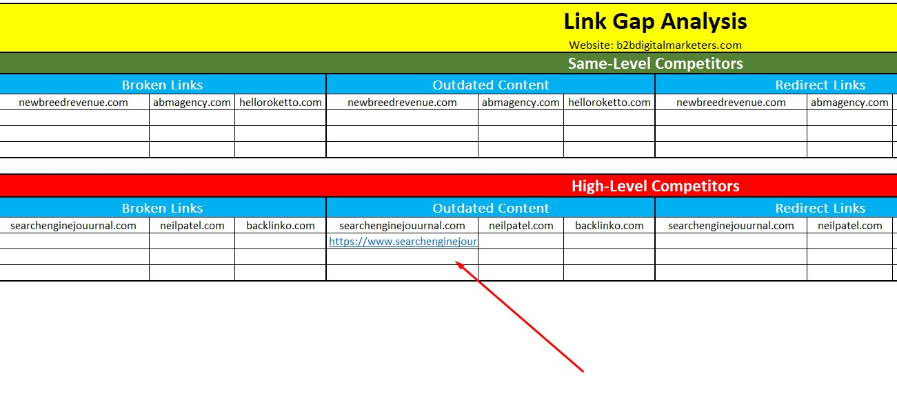 include link gap opportunity within the spreadsheet