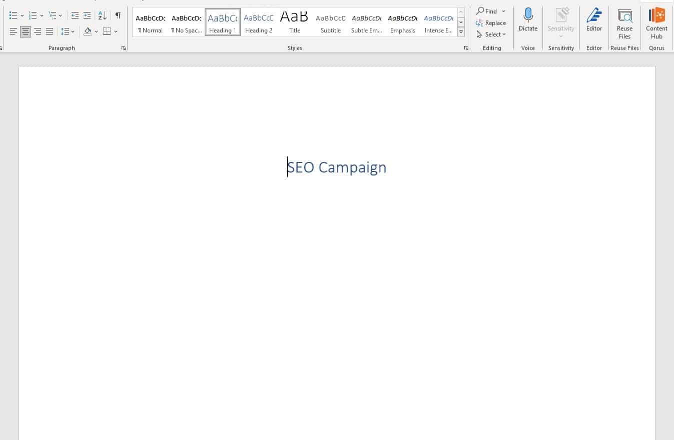 new word document for targeted keyword