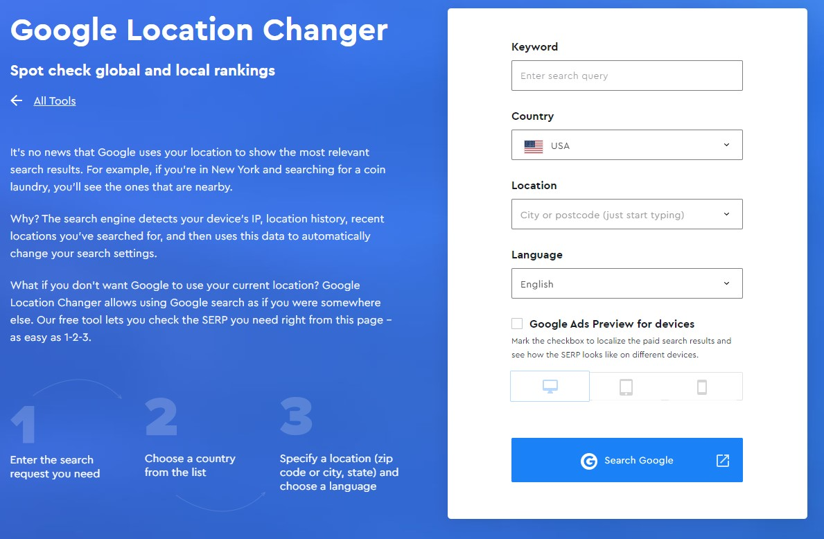 se ranking google location changer