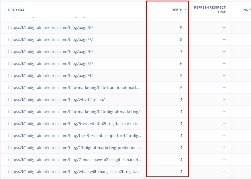 crawl depth of my pages higher than 3 which causes poorer organic search performance