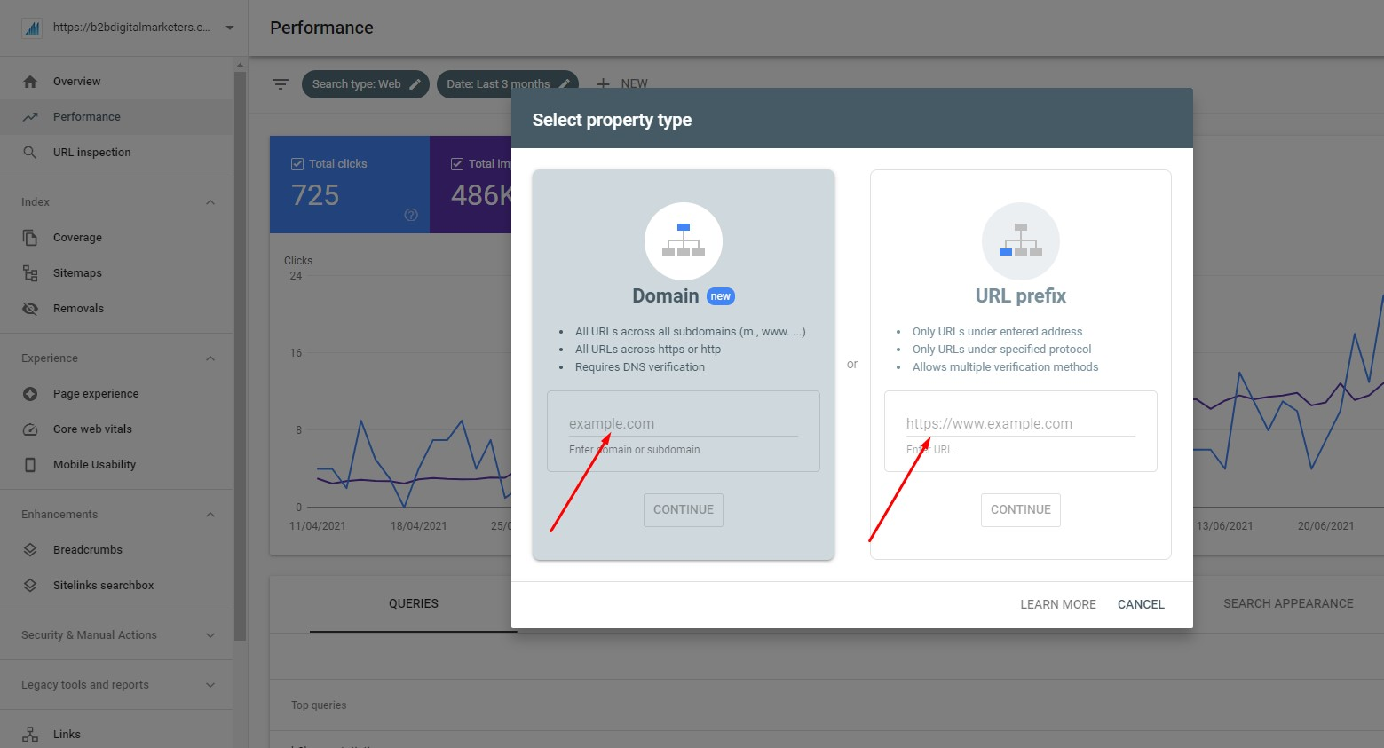 enter your domain in google search console