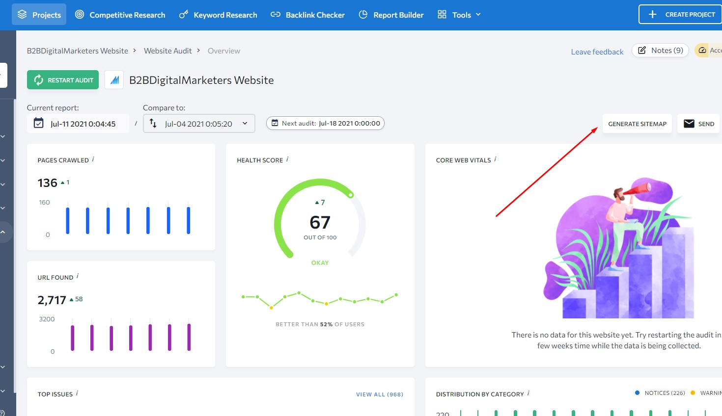generate sitemap in se ranking
