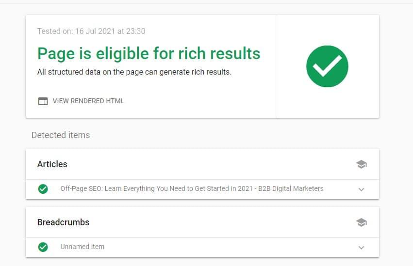 google rich results test for schema markup