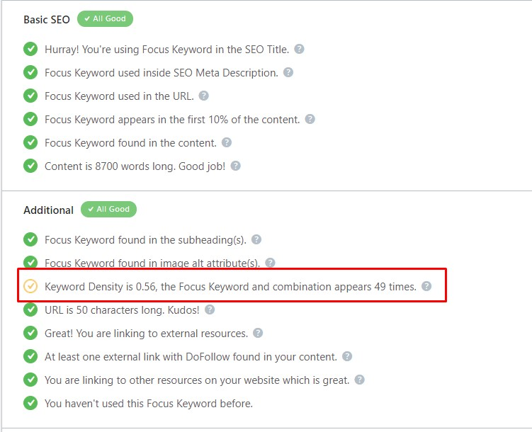 keyword density in SEO plugin