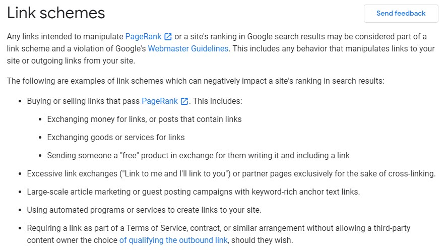 link schemes againts off-page seo