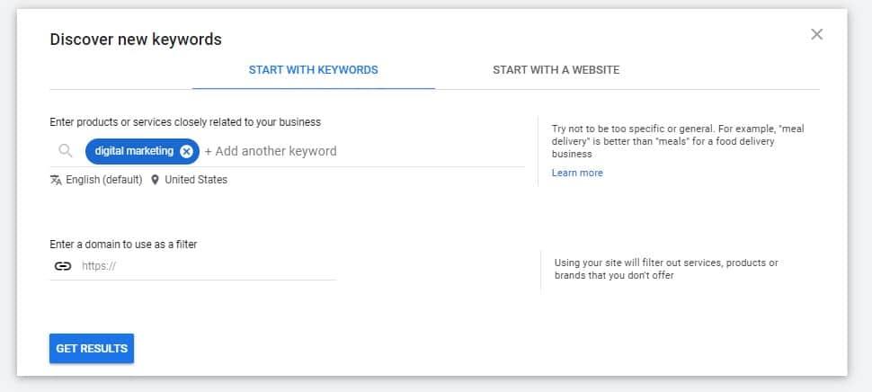 Google keyword planner searching for SEO keywords