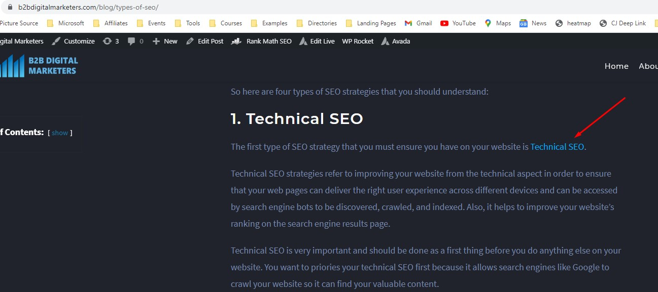 inluding seo keyword rich anchor text within content