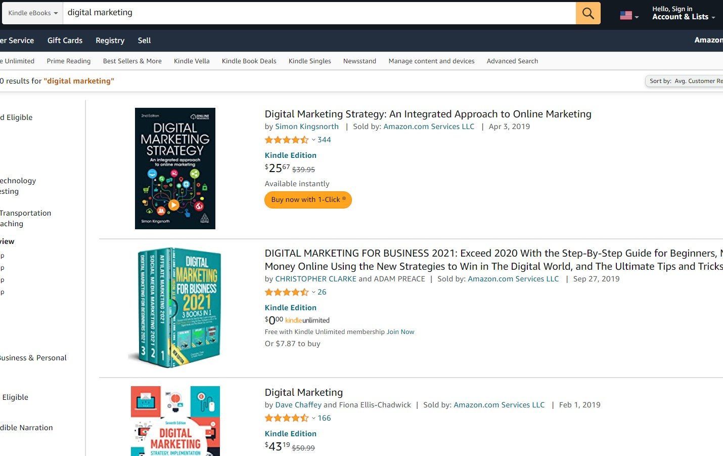 list of ebooks on amazon for keyword research