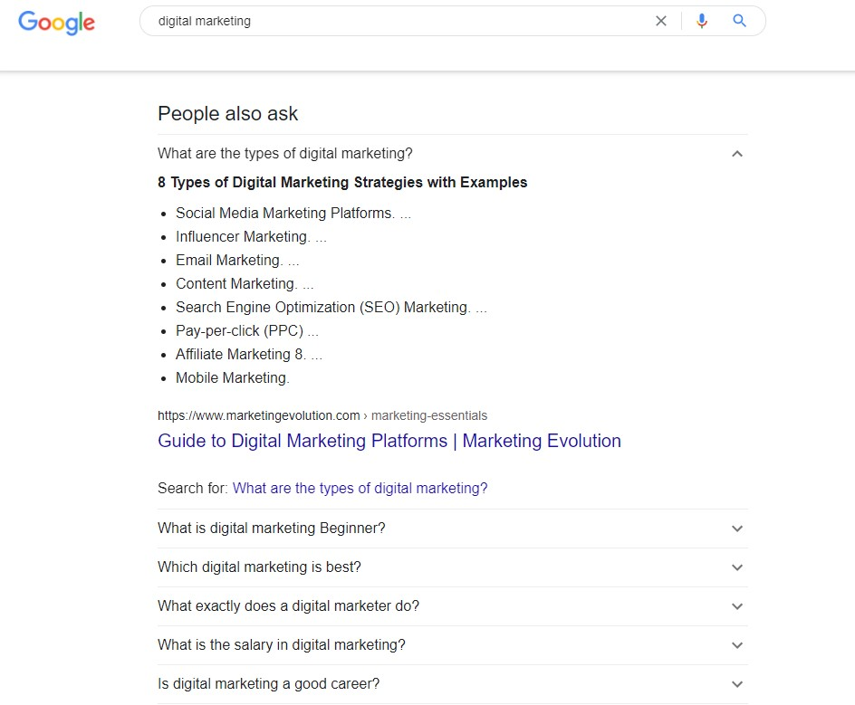 long tail keywords from people also ask box in Google