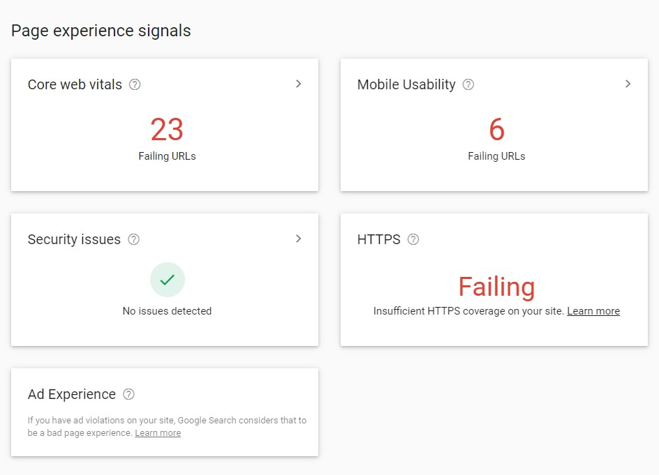 page experience signals