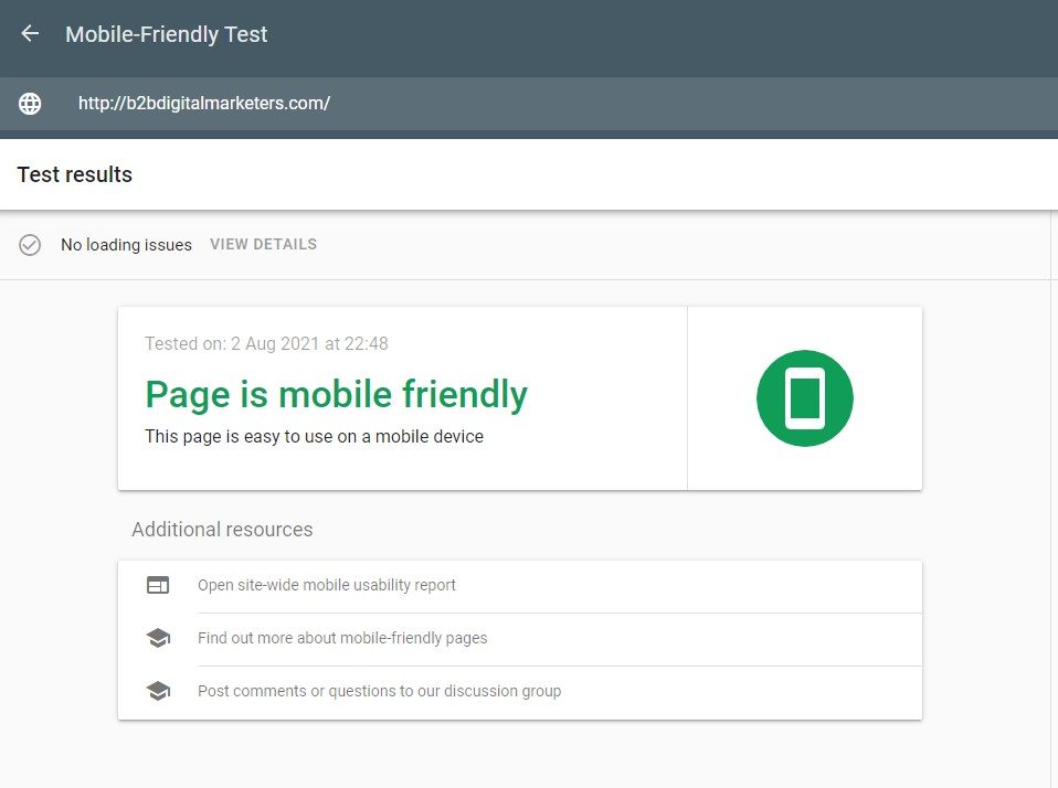 page is mobile friendly technical seo mobile friendliness google tool